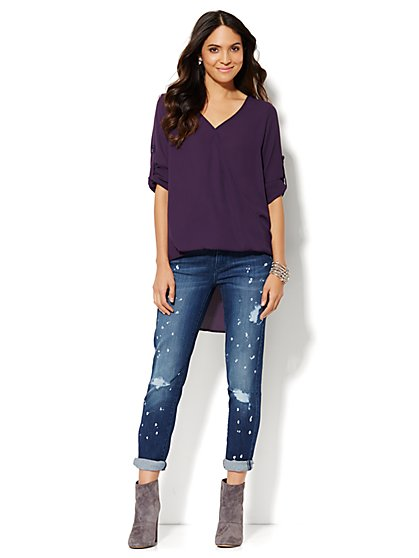 Extreme Hi-Lo Wrap Top  - New York & Company