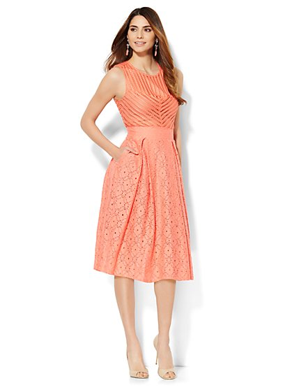 Eyelet Flare Dress - New York & Company
