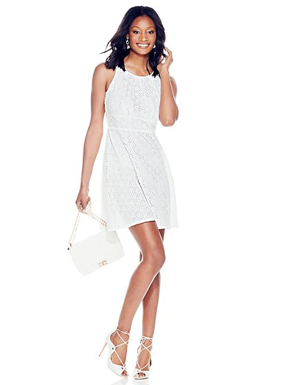 Eyelet Halter Dress  - New York & Company