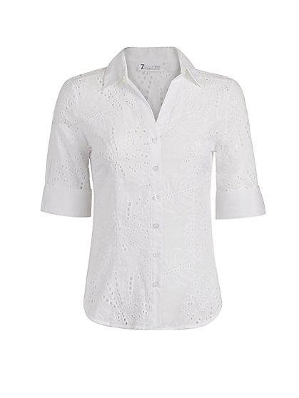 Eyelet Madison Stretch Shirt - Secret Snap - 7th Avenue - New York & Company