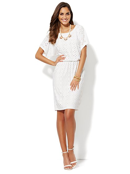 Eyelet-Overlay Blouson Dress  - New York & Company