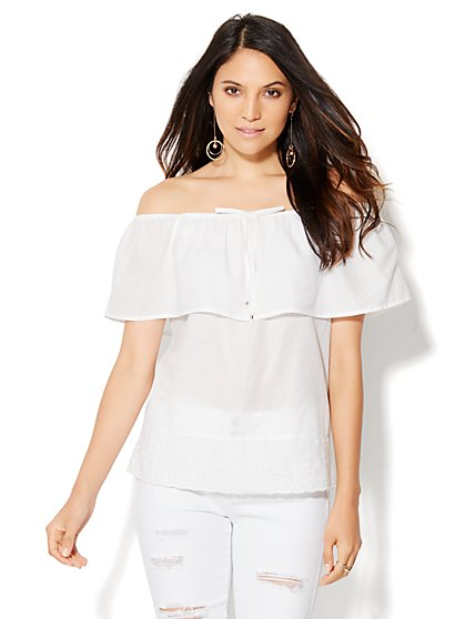 Eyelet-Trim Off-The-Shoulder Blouse  - New York & Company