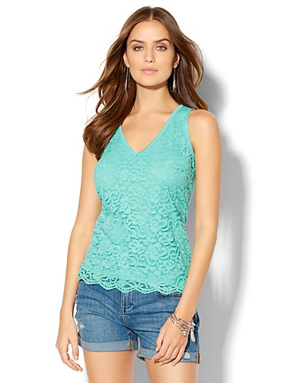 Eyelet V-Neck Top  - New York & Company