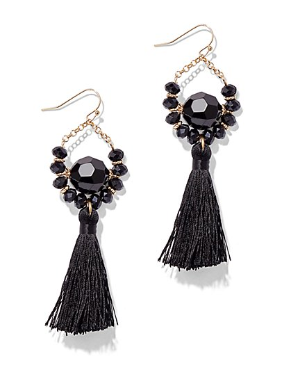 Faceted Bead & Tassel Drop Earring  - New York & Company