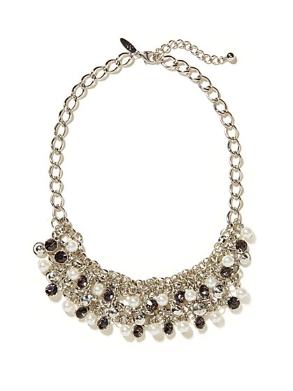 Faceted Beads Multi-Strand Bib Necklace - New York & Company