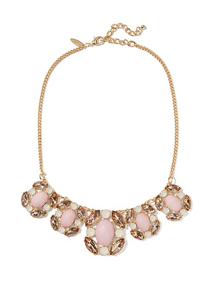 Faceted Cabochons Bib Necklace
