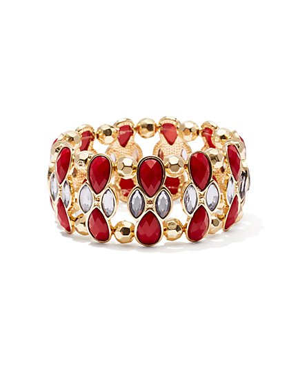 Faceted Faux Stone & Beaded Stretch Cuff Bracelet  - New York & Company