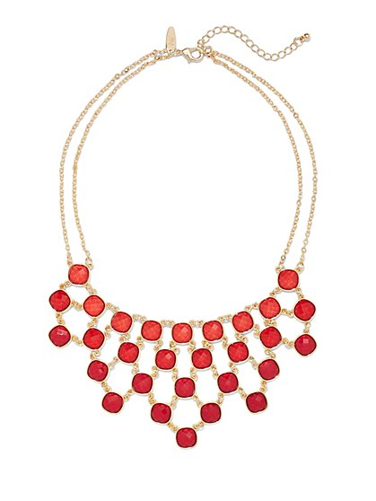 Faceted Faux-Stone Bib Necklace  - New York & Company