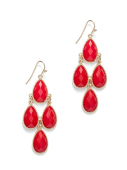 Faceted Faux-Stone Chandelier Earrings   - New York & Company