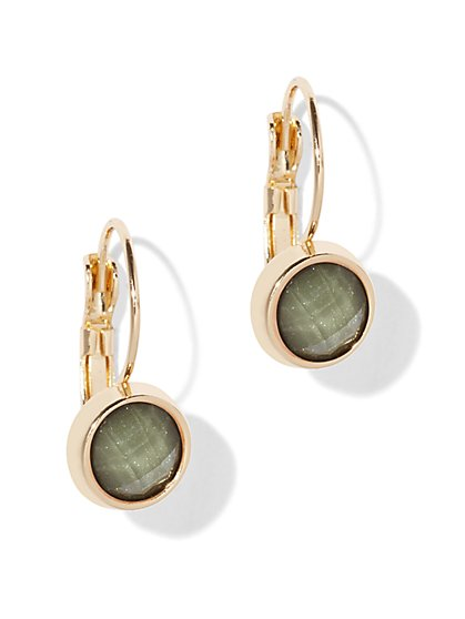 Faceted Faux-Stone Drop Earring  - New York & Company