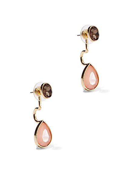 Faceted Faux-Stone Drop Earrings  - New York & Company