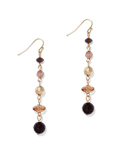 Faceted Faux-Stone Linear Drop Earring  - New York & Company