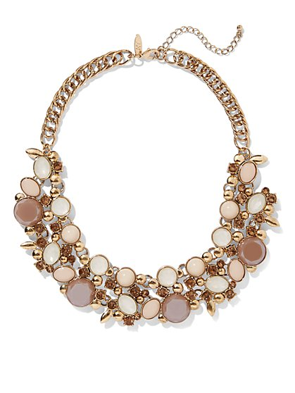 Faceted Faux-Stone Statement Necklace  - New York & Company
