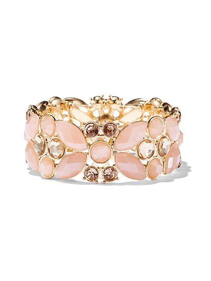 Faceted Faux-Stone Stretch Bracelet - New York & Company