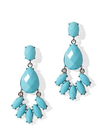 Faceted Floral-Drop Earrings