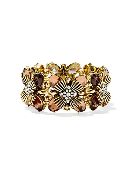 Faceted Floral Stretch Bracelet  - New York & Company