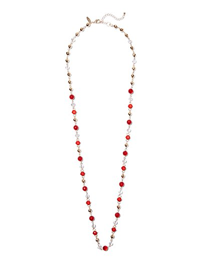 Faceted & Polished Beaded Necklace  - New York & Company