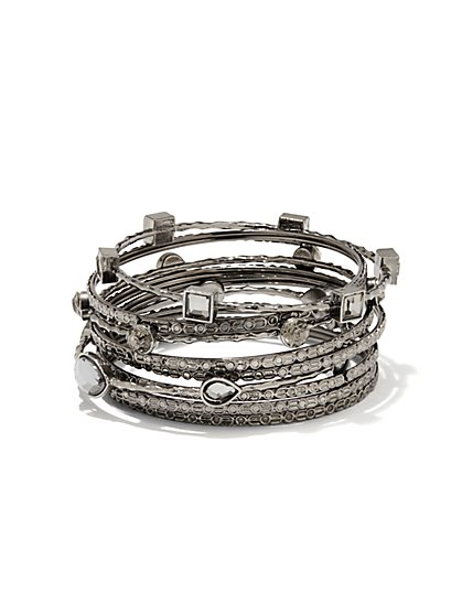 Faceted Stone Bangle Set  - New York & Company