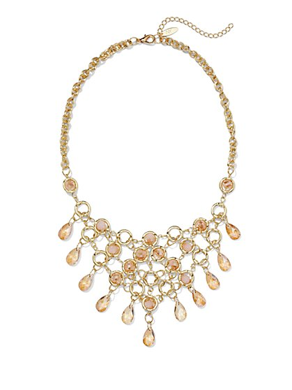 Faceted Stones Bib Necklace - New York & Company