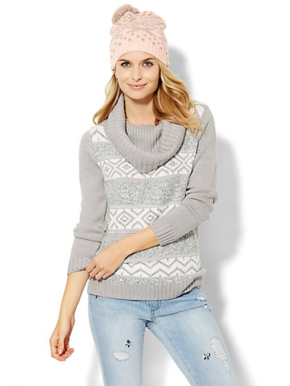 Fair Isle Cowl-Neck Sweater  - New York & Company