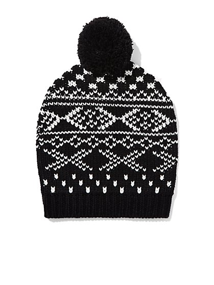 Fair Isle Pom-Pom Hat  - New York & Company
