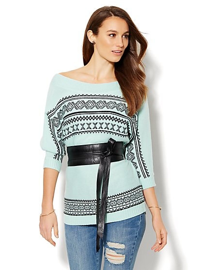 Fair Isle Tunic Sweater  - New York & Company