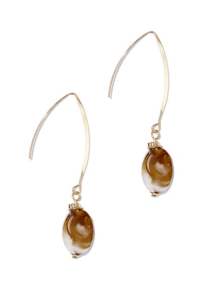 Faux-Amber Goldtone Drop Earring  - New York & Company