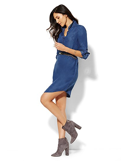 Faux-Chambray Shirtdress - Blue Estate Wash - Petite  - New York & Company
