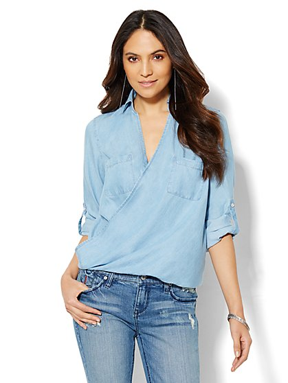 Faux-Chambray Wrap Top - Light Indigo  - New York & Company