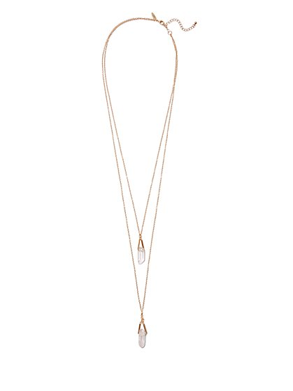 Faux-Crystal Layered Pendant Necklace  - New York & Company