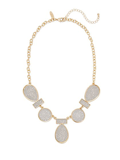 Faux-Druzy Bib Necklace  - New York & Company