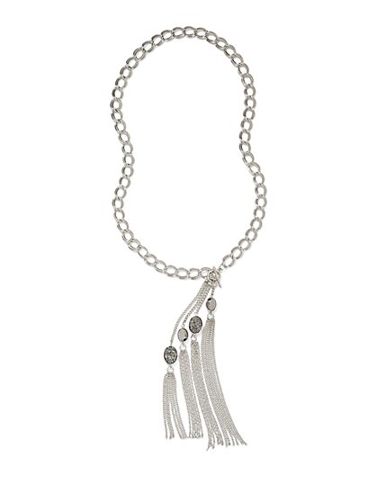 Faux-Druzy Fringe Pendant Necklace  - New York & Company