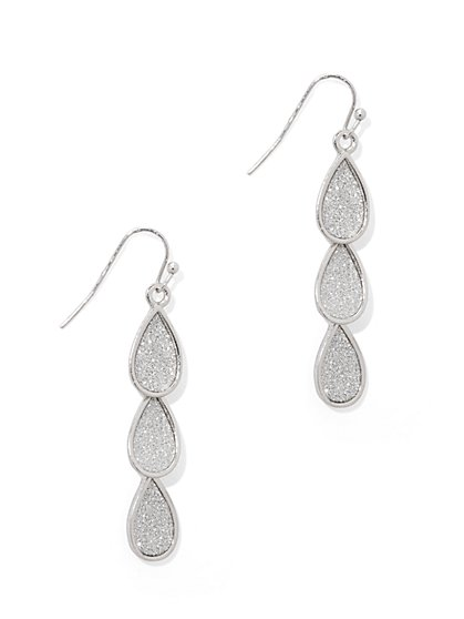 Faux-Druzy Linear Teardrop Earring  - New York & Company