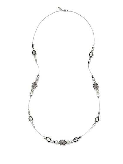 Faux-Druzy Station Necklace  - New York & Company