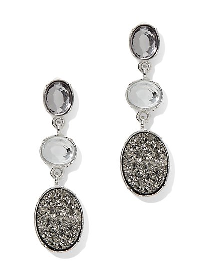 Faux-Druzy Triple Drop Earring  - New York & Company