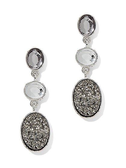 Faux-Druzy Triple Drop Earring  - New York & Company