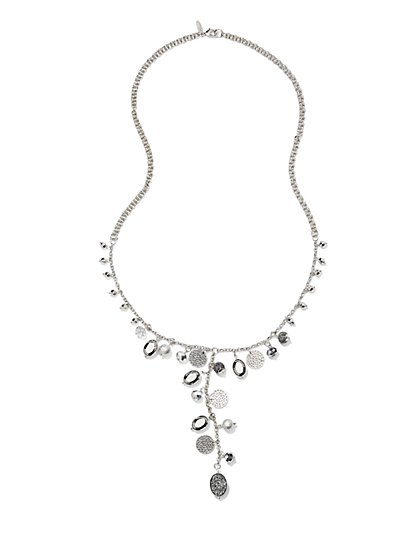 Faux-Druzy Y-Shaped Pendant Necklace  - New York & Company