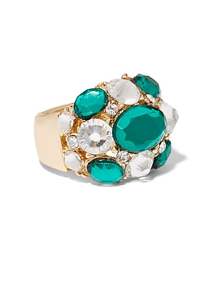 Faux-Emerald Cocktail Ring  - New York & Company