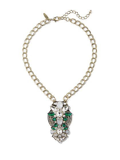 Faux-Emerald Pendant Necklace  - New York & Company