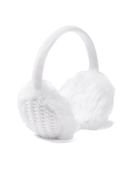 Faux-Fur Cable Earmuffs  - New York & Company