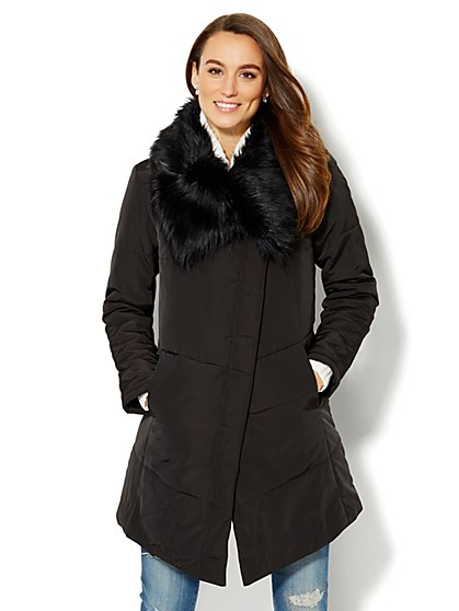 Faux-Fur Collar Puffer Coat  - New York & Company