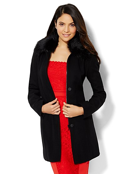 Faux-Fur Collar Wool-Blend Coat  - New York & Company