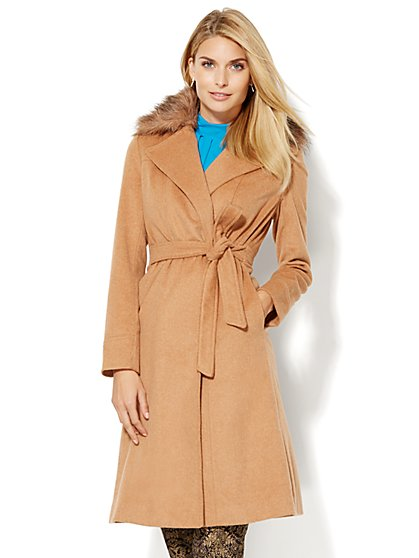 Faux-Fur Collar Wool-Blend Wrap Coat  - New York & Company