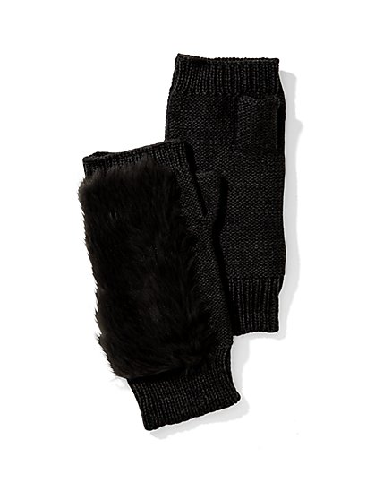 Faux-Fur Fingerless Knit Gloves  - New York & Company