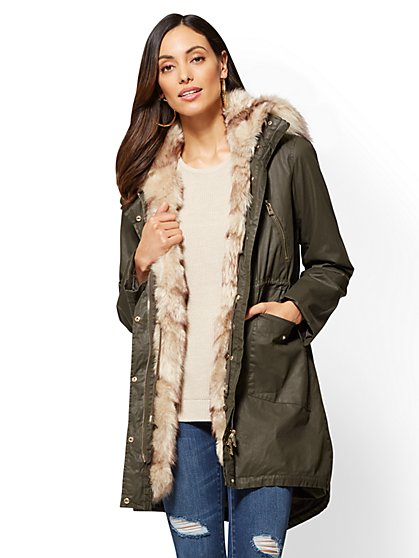 Faux-Fur Hooded Anorak - New York & Company