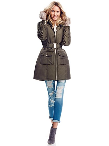 Faux-Fur Hooded Puffer Coat  - New York & Company