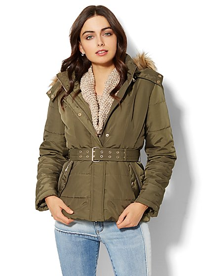 Faux-Fur Hooded Puffer Jacket  - New York & Company