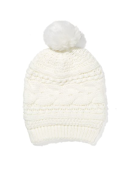 Faux-Fur Pom-Pom Hat  - New York & Company
