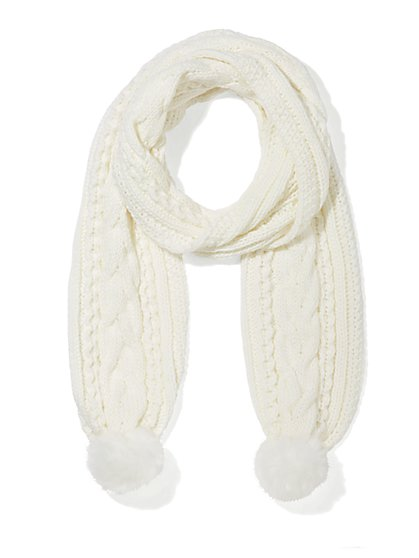 Faux-Fur Pom-Pom Scarf  - New York & Company