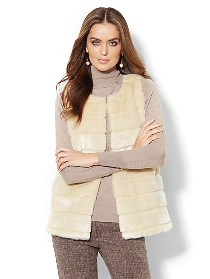 Faux-Fur Seamed Vest - New York & Company